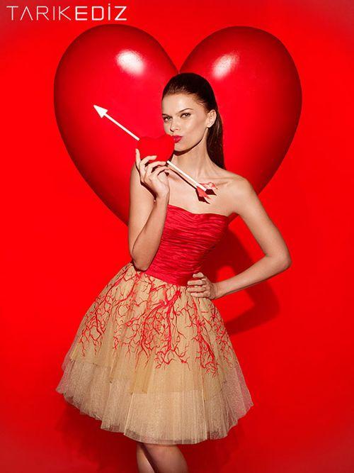 Tarik Ediz 90401 - $690.00. strapless. tulle. red. short. dress