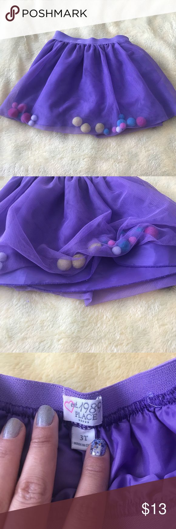 Purple Pom Pom Skirt Children's Place - Purple Fully Lined Skirt with Pom Poms inside the tulle. Size 3T  Gently Used in GREAT condition The Children's Place Bottoms Skirts