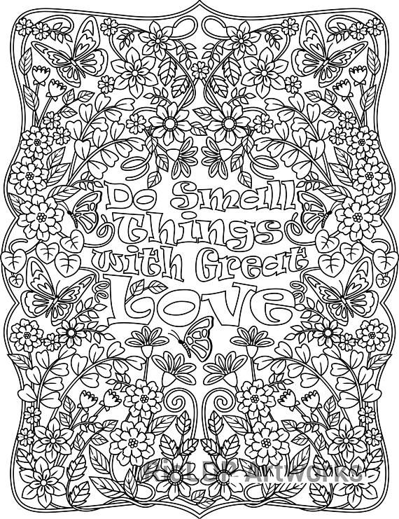 Printable Do Small Things With Great Love Flower Design Coloring Page For Grown Ups
