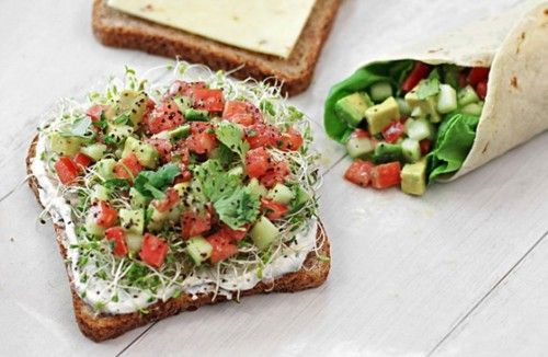 """""""California Sandwich"""" — Whole wheat toast topped with chive yogurt spread, sprouts, and a cilantro-lime avocado, tomato, and cucumber salad."""