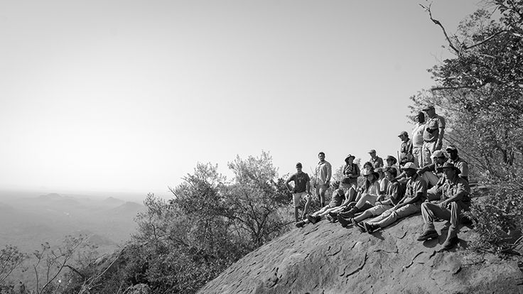 Students on a rock with a view