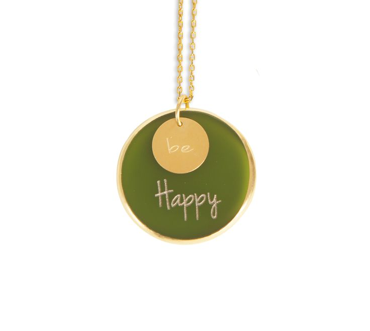''Be Happy ''Gold plated silver chain and plexiglass necklace