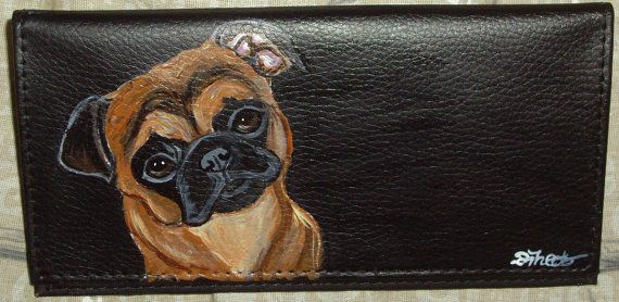 Smooth Hair Brussels Griffon Dog Custom Painted Leather Checkbook Cover