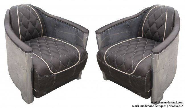 """PAIR of vintage aviator-inspired aluminum-wrapped leather armchairs, perhaps 1960s, bought in Europe.  TOO COOL FOR SCHOOL!!! Each 27"""" W x 35"""" D x 26""""H. $3800-pair"""
