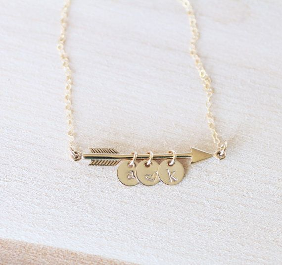 Gold Arrow Necklace Arrow Necklace with Initials by LRoseDesigns