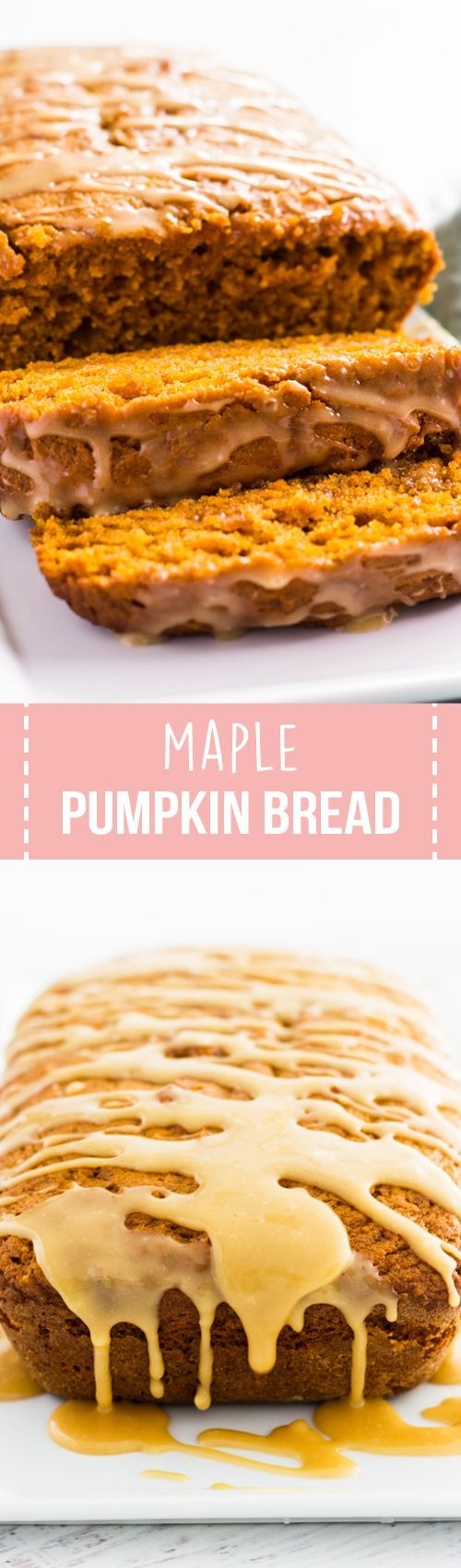 Maple pumpkin bread is filled with the flavors of fall. Topped with a maple syrup glaze and filled with spices, each slice is unbelievably good!