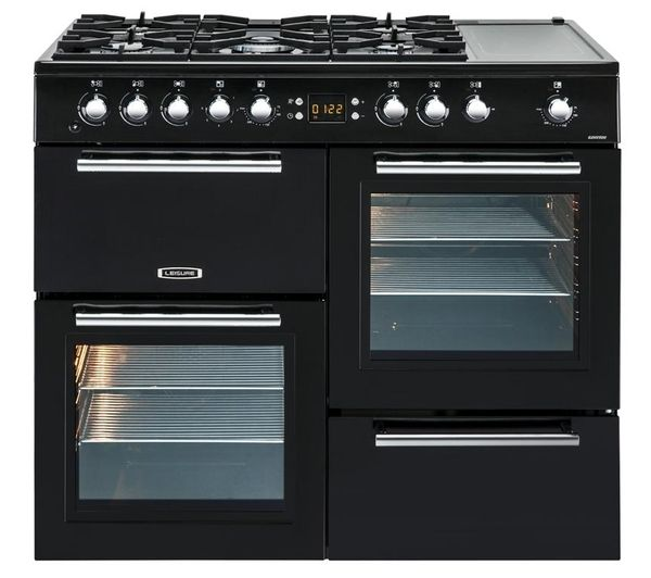 Buy LEISURE AL100F210K Dual Fuel Range Cooker - Black & Chrome | Free Delivery | Currys