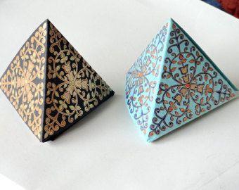 Boîte de cadeau de prisme, Favor boxes - Set de 10 boîtes de faveur mariage petit pli-able