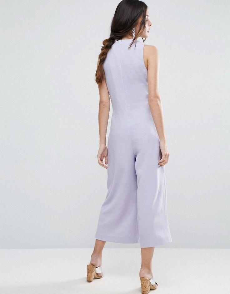 ASOS Jumpsuit with Origami Detail and Culotte Leg - Gray