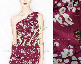 Cherry Blossom lampone rosso seta raso al metro