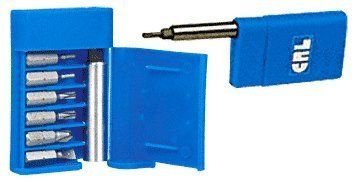 """CRL Six-In-One Mirror Bracket Tool by CRL. $12.26. C.R. LAURENCE MB6N1 CRL 6-in-1 Mirror Bracket Tool. We have combined the most popular mirror bracket removal and replacement bits along with a driver handle/carrying case in our CRL 6-in-1 Mirror Bracket Tool. Together they make up the most versatile mirror bracket tool ever. Housed in the sturdy case are one each of the following: CAT. NO""""S. 440TX15 and 440TX20; (TX15 and TX20 Torxr Bits) CAT. NO""""S. 1851 and 1853..."""
