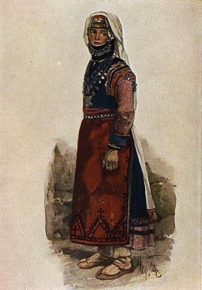 Peoples of the Caucasus in national costumes. Greek woman from Tsalka (original drawing by M. Tilke, 1910)