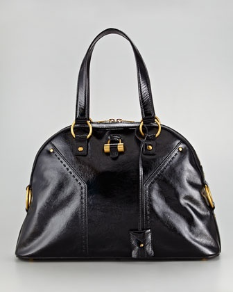 Muse Large Patent Leather Dome Satchel by Yves Saint Laurent at ...