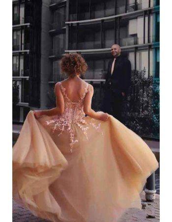 Vintage Illusion Neck Floral Lace A Line Gold Tulle Long Prom Dress