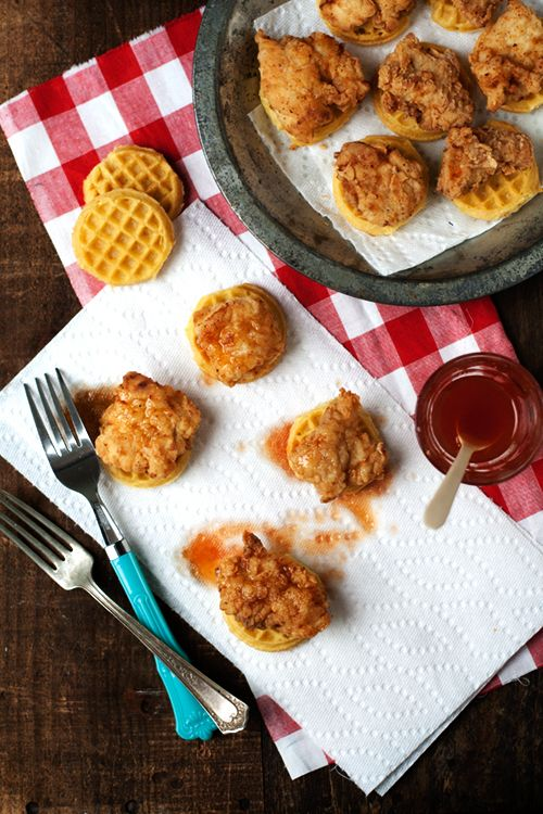 This mini version of chicken and waffles is the perfect combination of delicious and adorable. Get the recipe at Hungry Girl Por Vida.    - CountryLiving.com