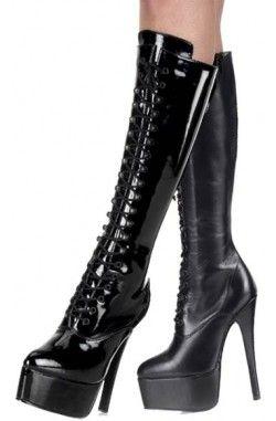 Yüksek Topuklu Çizme, Klasik, zarif seçim. Bağcıklı ve kolay kullanım için yandan fermuarlı olarak hazırlanmış ithal yüksek topuklu sksi çizme.