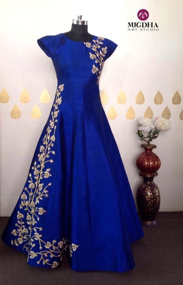 e3f8825296 Long gowns are back in mugdhas grab the one for your special occasions . Beautiful  royal blue color floor length dress with floret lata design hand ...