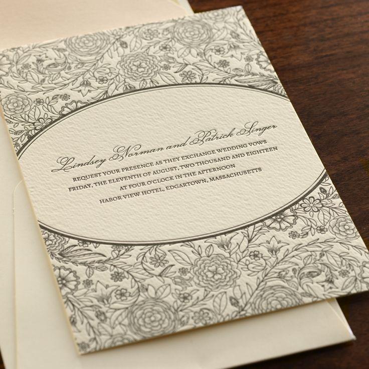 Rhapsody By Checkerboard   Letterpress Wedding Invitation In Black Ink