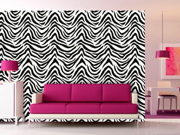 Quelle décoration introduira l'extravagance et l'ambiance africaine à votre intérieur ? Papier peint avec zèbre ! ;) #papierpeint #papierspeints #zèbre #motifanimal #styleafricain #décoration moderne #bimago