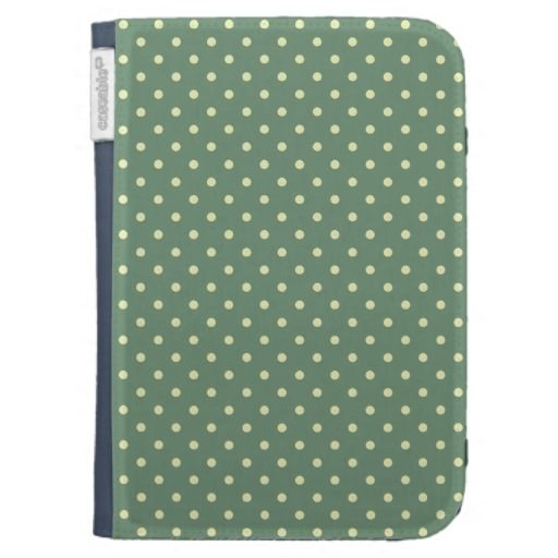 Country Green/Light Cream Polka dot pattern Kindle Cover.  Protect your mobile device with grace. Super trendy-country chic colors for great eye-pleasing effect. So cute!