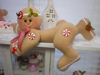 Lebkuchen Gingerbread Kantenhocker Puppe süß Weihnachten Advent Winter Tilda