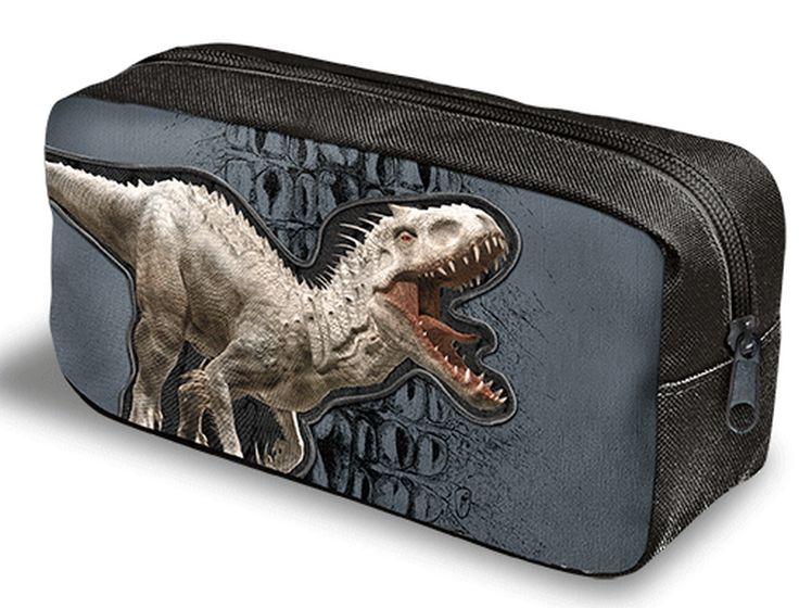 Astuccio bustina Jurassic World by Gut Distribution.  Interno capiente, chiusura a zip.  Variante unica come da foto.  Scegli il tombolino vuoto o con Kit scrittura  (1 colla, 1 gomma bianca, 1 forbice e una matita)  Dimensioni: 22x11x7 cm