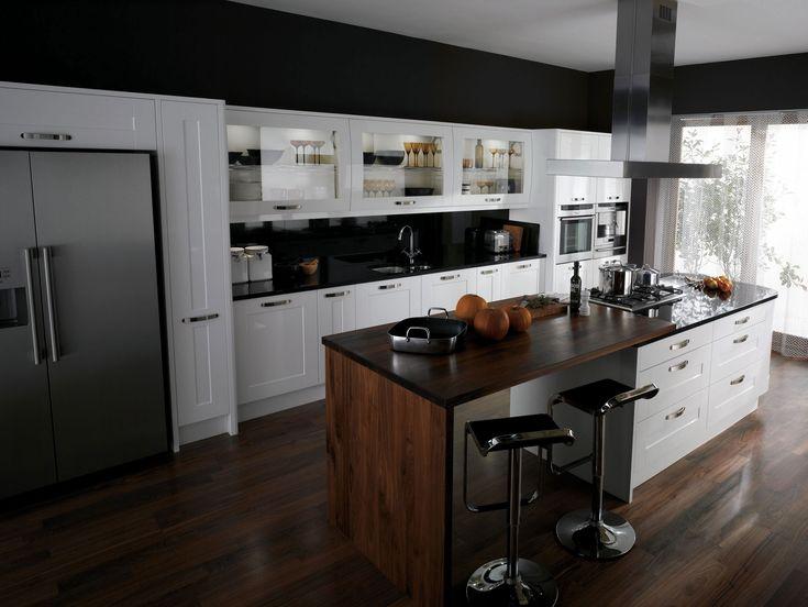high gloss black kitchen white worktop jpg contemporary valais kitchen design with black worktops and a walnut