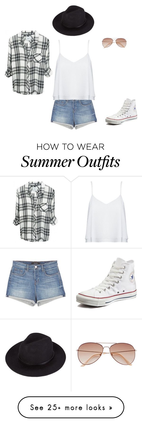 """""""Summer outfit"""" by xsilverbansheex on Polyvore featuring J Brand, Alice + Olivia, H&M and Converse"""