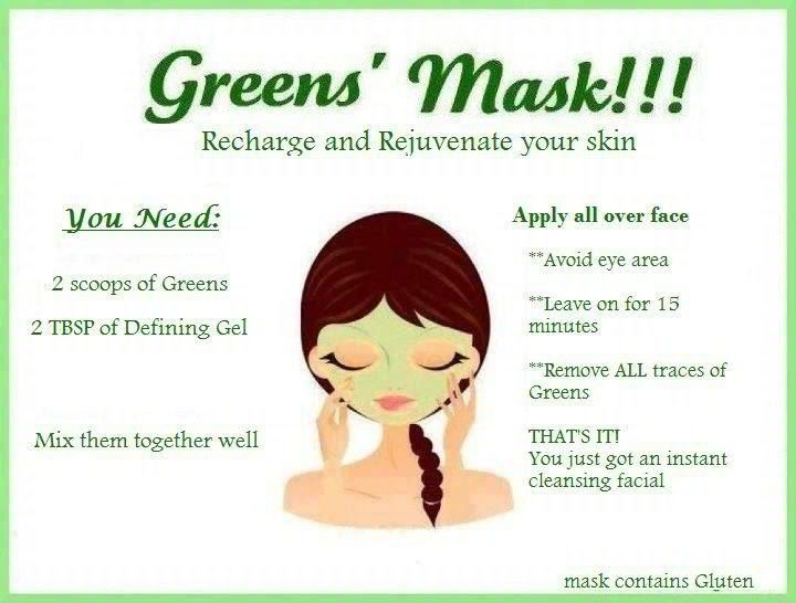 Use It Works Greens and Defining Gel to create a mask that will help tighten tone and firm your face while clearing up blemishes and scaring! http://charleyrollins.myitworks.com