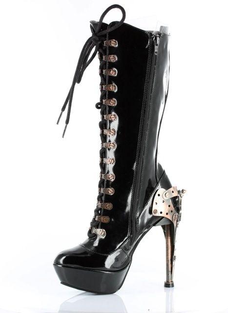 "Steam Punk- Hades  Zeppelin, Black Patent Leather, 5"" Heel  Upper: Steampunk Patent Lace-up Knee Boot  Platform/Heel: Custom Metal Steampunk Heel w/Butterfly Gears & Spikes, 1.5"" Platform  Black Patent,  Sizes, 5-11 $165.99"
