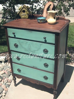 Teal and stained wood chest of drawers