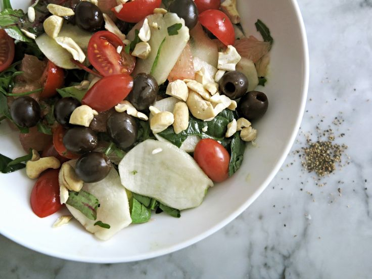 "Winter salad with jerusalem artichoke and a lot of good stuff. It's raw, vegan and full of love. #raw #salad #jerusalemartichoke #lemon ""olives #tomatoes #ruccola #vegan #glutenfree #dairyfree"