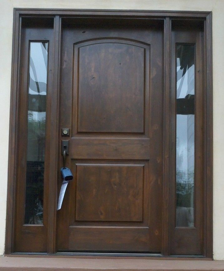 Front exterior entry door with sidelights krosswood doors for Solid hardwood front doors