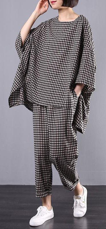 Chic pattern stylish Cotton Linen gray Plaid Vintage Blouse And Pants