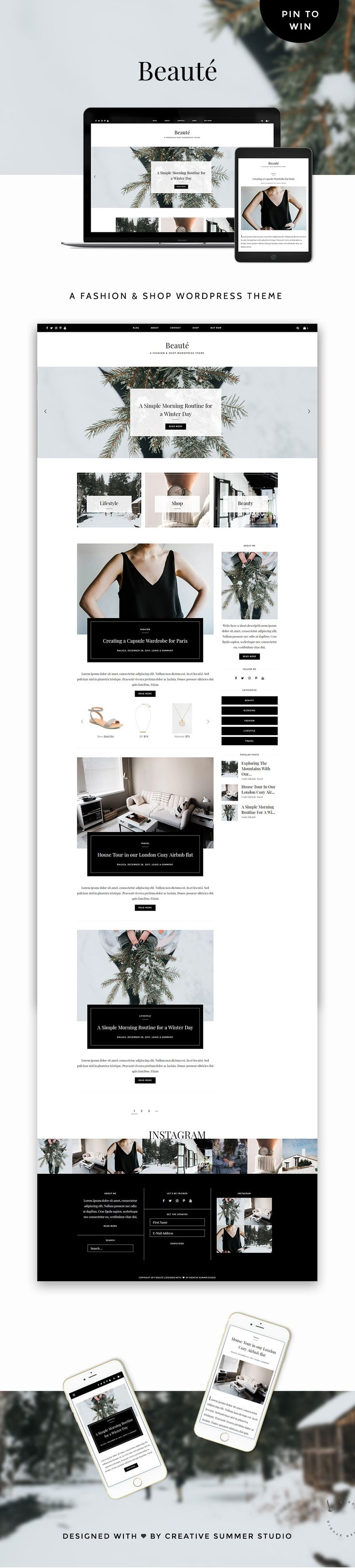 Meet Beaute, a fashion & shop WordPress theme that will beautifully highlight your content and will help you take your blog to the next level. Crafted with fashion & beauty bloggers in mind, with a gorgeous design, clean typography, and unique stylish details added to the right places, Beaute theme will instantly make you look legit in the blogosphere and it will help you start monetizing your blog in no minutes.
