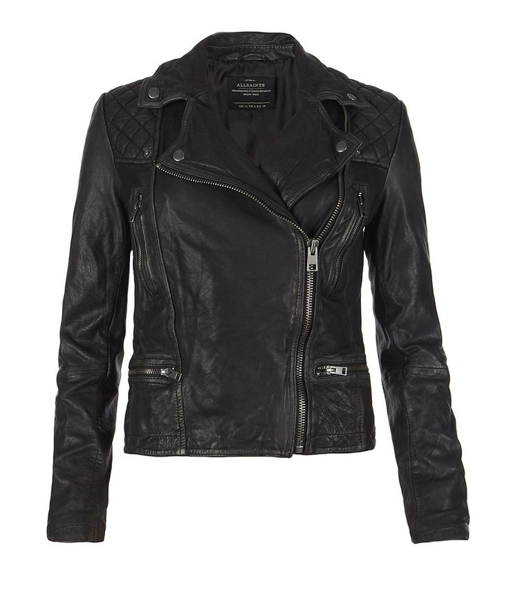 Cargo Leather Biker Jacket, Women, Leather, AllSaints Spitalfields