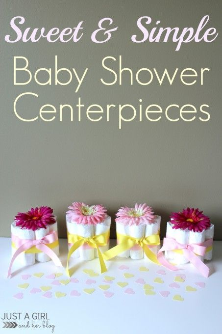 * Maybe use a sunflower and ribbon that is red and white table cloth like  for bbq... Use reusable diapers that you can wash and reuse.. Sweet and Simple Baby Shower Centerpieces by Just a Girl and Her Blog