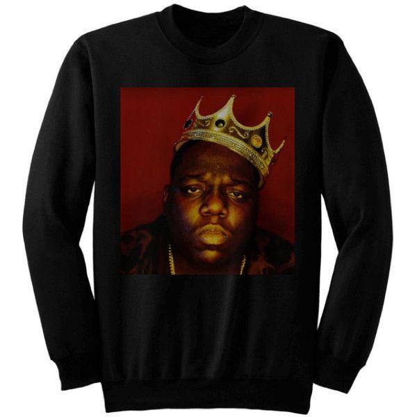 Notorious Big Biggie Smalls Rap King Gold Crown Black Sweatshirt Plus... ($33) ❤ liked on Polyvore featuring tops, hoodies, sweatshirts, dark olive, women's clothing, plus size womens sweatshirts, plus size long sleeve tops, long sleeve sweatshirt, black sweat shirt and plus size sweatshirts hoodies