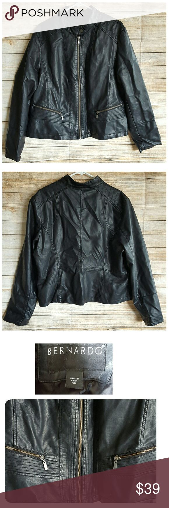 Bernardo black faux leather jacket vegan bomber 2X Beautiful condition with no flaws Bernardo Jackets & Coats