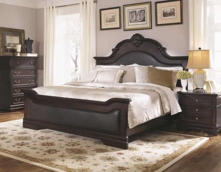 Bedroom: Furniture Stores For Solid Wood Traditional Beds with Walker Edison Furniture Company Brown Queen Bed Frame Hdqaw / Dark Wood Bed With Padded Headboard on adadisini.info