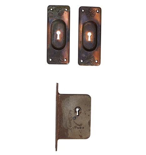 Japanned Copper Pocket Door Set w/ Mortise Lock