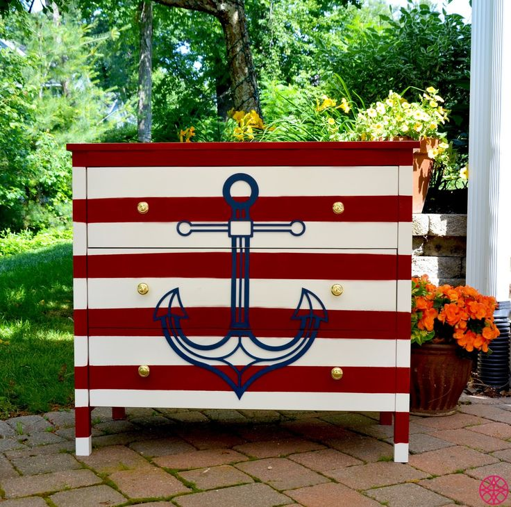 Instructions to create your Nautical Dresser     Before      After                 What you'll need :       3 drawer white dresser that...