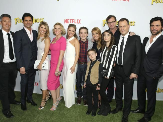 Fuller House ... Creator Jeff Franklin, along with John Stamos, Lori Loughlin, Jodie Sweetin, Andrea Barber, Michael Campion, Candace Cameron Bure, Elias Harger, Soni Bringas, Bob Saget, Dave Coulier and Juan Pablo Di Pace. Picture: Splash