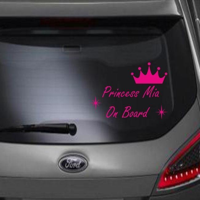 Princess on board car sticker baby girls cute funny personalised window vinyl