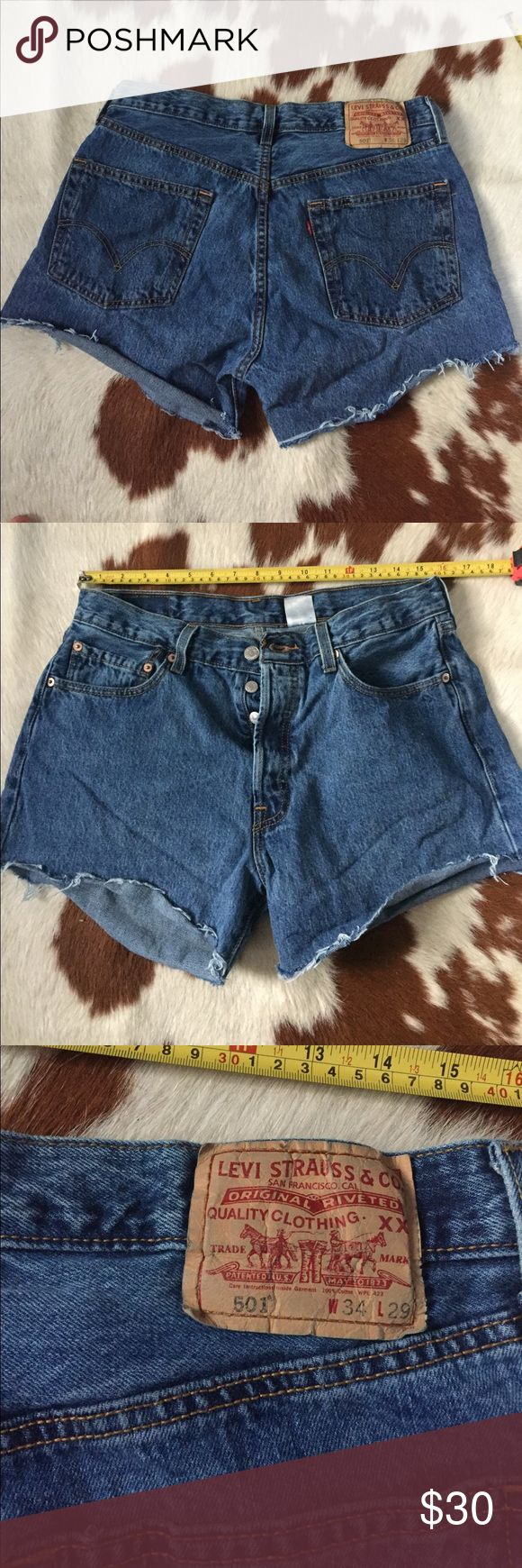 Levi's 507  blue denim shorts Button fly 31 inch waist. 10.5 inch rise. 3.5 inch inseam Levi's Shorts Jean Shorts