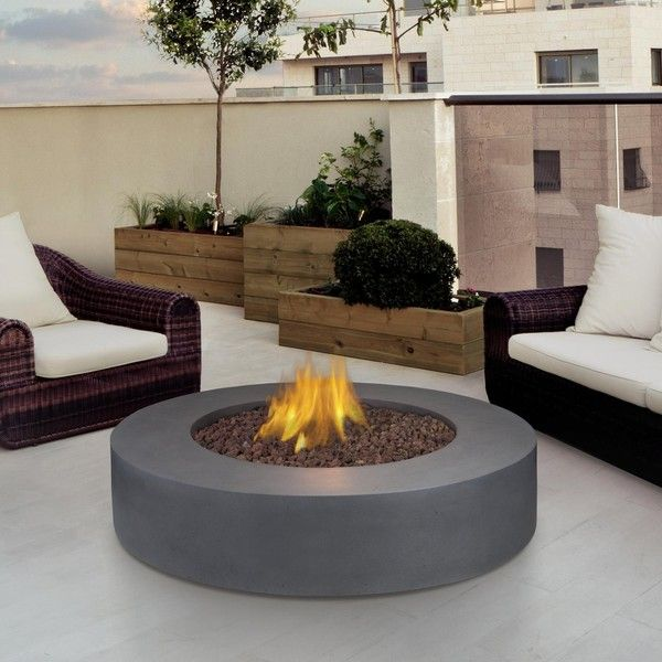real flame mezzo 42inch round propane gas fire pit table flint gray