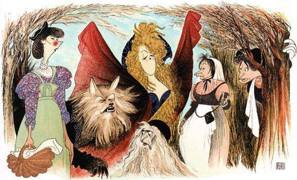 Al Hirschfeld.com - THE MARGO FEIDEN GALLERIES LTD. - Celebrating Stephen Sondheim's 80th Birthday - Into the Woods