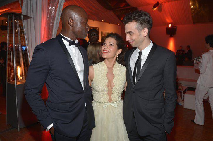 Pin for Later: Le glamour est au rendez-vous au festival de Cannes !  America Ferrera avec Djimon Hounsou et Jay Baruchel après la projection du film How to Train Your Dragon 2.