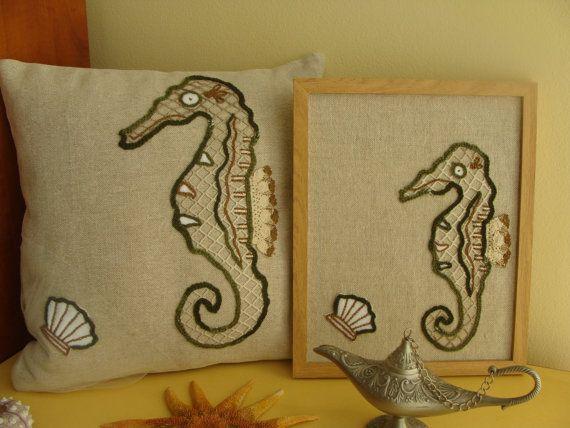Unique Sea Horse Pillow Cover and Sea Horse Tableau, Set, Decorative Pillow, Nautical Throw Pillow Cover,Exclusive Handmade,Sea Life Decor