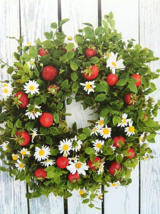 Wreath with daisies and strawberries, for a kiwi Christmas?